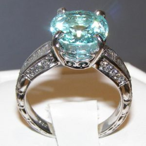 GIT Certified Paraiba Tourmaline Diamond Ring 14kWG 7.02 ct