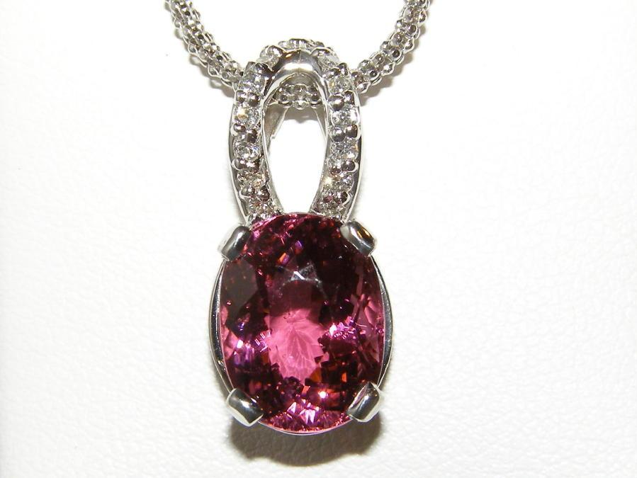 14KWG Mozambique Pink Tourmaline Pave Diamond Pendant