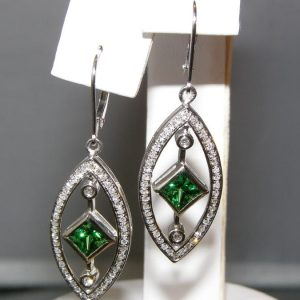 Princess Cut Tsavorite Pave Diamond Dangels 14KWG 1.72 ctw