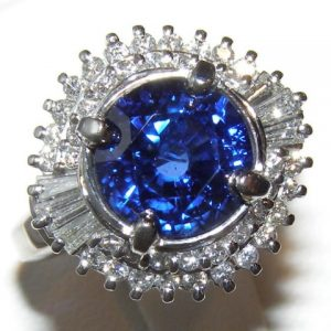 AGL Certified Cornflower Blue Ceylon Sapphire Diamond Platinum Ring 5.66 ctw
