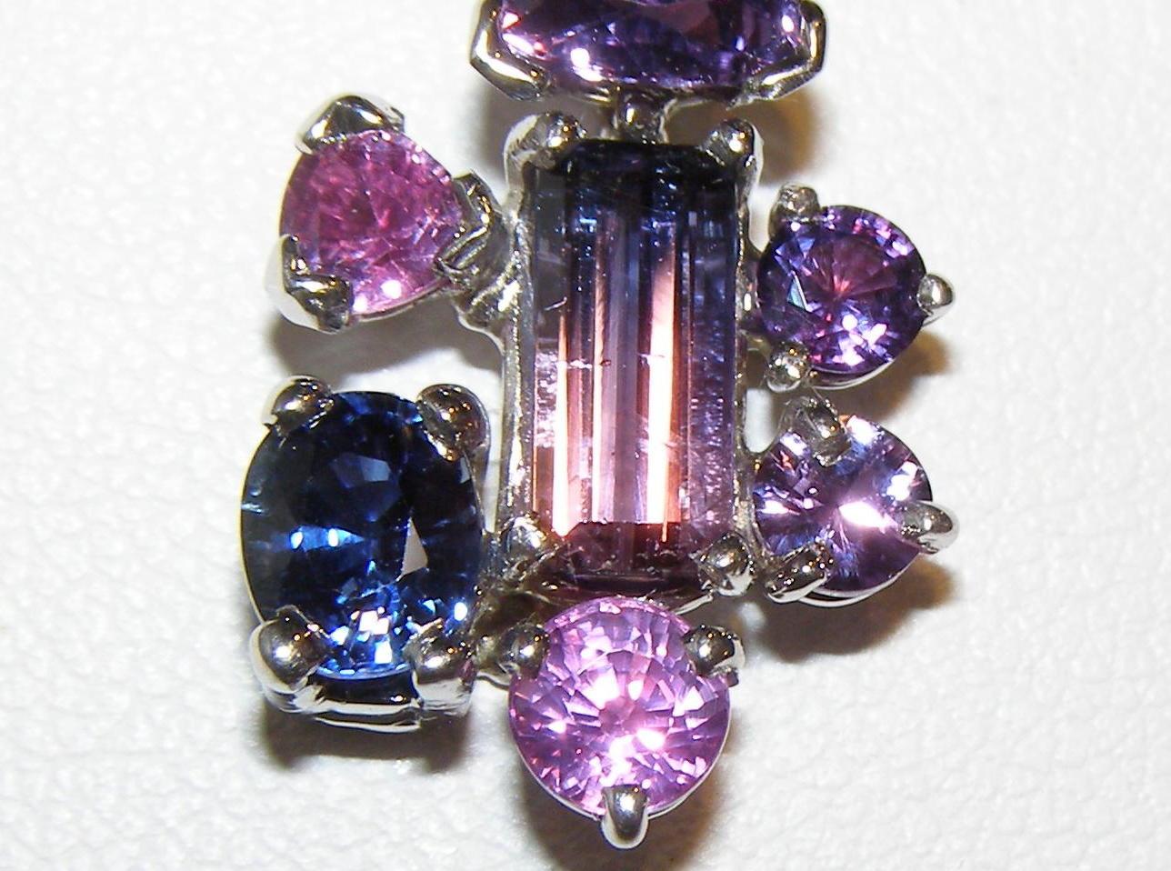 Multi-color & Shape Fancy Sapphire Pendant 14KWG 2.63 ctw