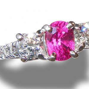 GIT Certified Unheated Winza Ruby Diamond Ring 14KWG 2.61 ctw