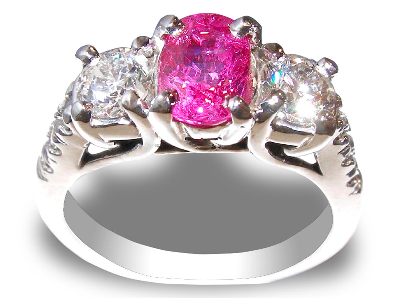 GIT Certified Unheated Winza Ruby Diamond Ring 14KWG 2.61 ctw