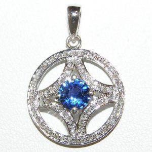 Ceylon Blue Sapphire Pave Diamond Pendant 14KWG 1.60 ctw