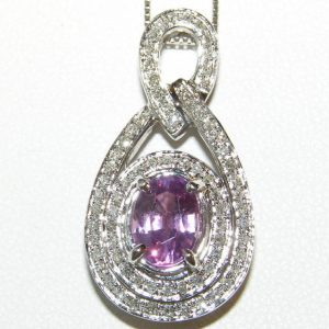AIGS Certified Pink Sapphire Pave Diamond Pendant 14kWG 1.95 ctw