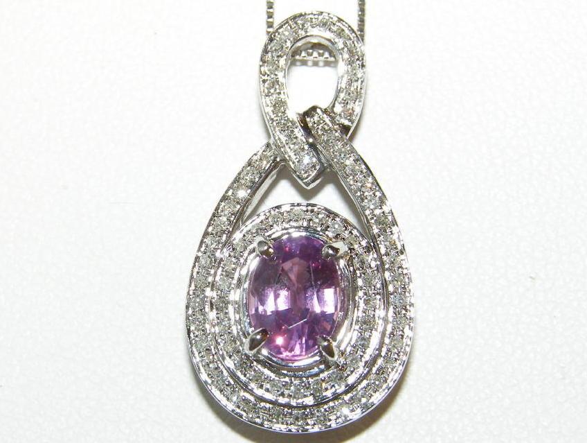 AIGS Certified Pink Sapphire Pave Diamond Pendant 14kWG 1.95 ctw