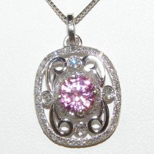 AIGS Certified Pink Sapphire Diamond Pendant 14KWG 1.48 ctw