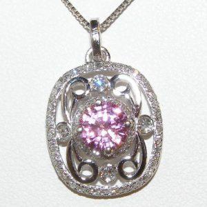 AIGS Certified Pink Sapphire Diamond Pendant 14KWG 1.48 ctw