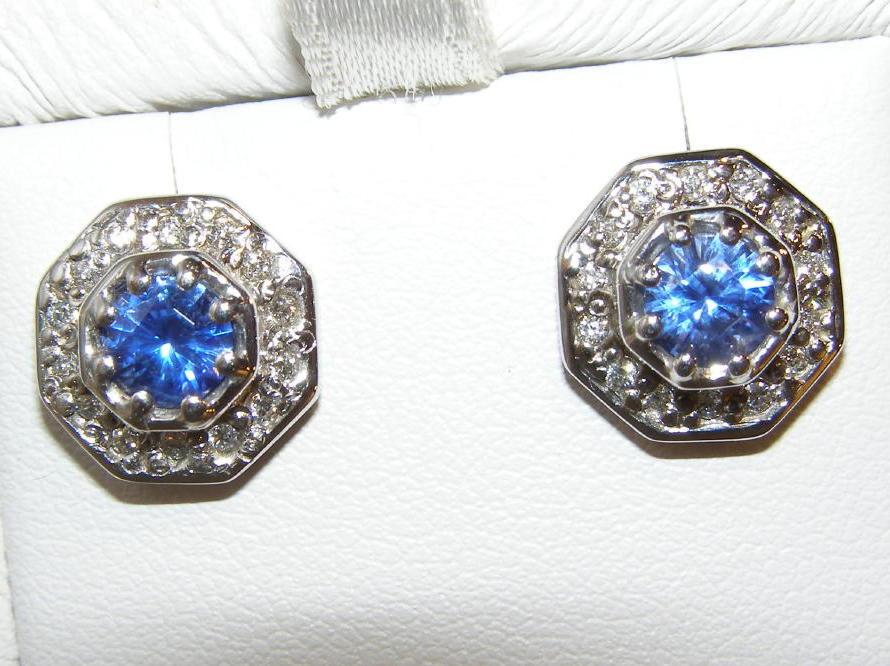 AGTA Certified Unheated Sapphire  Diamond Earrings 18KWG 1.58 ctw