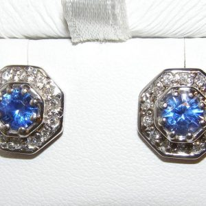 AGTA Certified Unheated Sapphire  Diamond Earrings 18KWG 1.58 ctw