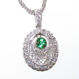 Art Deco Tsavorite Diamond Necklace 18KWG 0.93 ctw