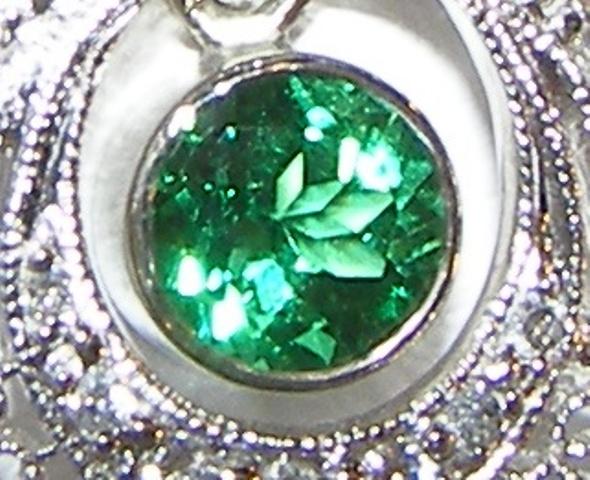 Art Deco Tsavorite Diamond Necklace 18KWG 0.93 ctw