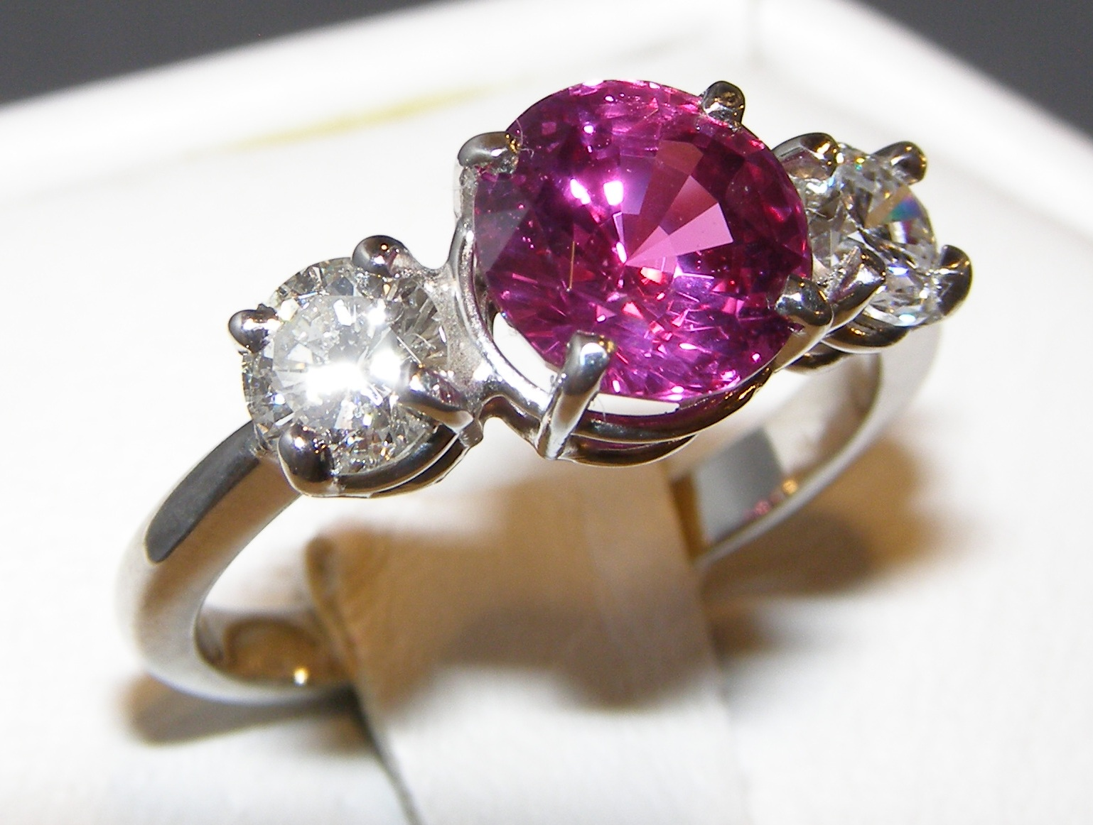 GIA Certified Pink/Ruby Sapphire Diamond Platinum Ring 3.46 ctw