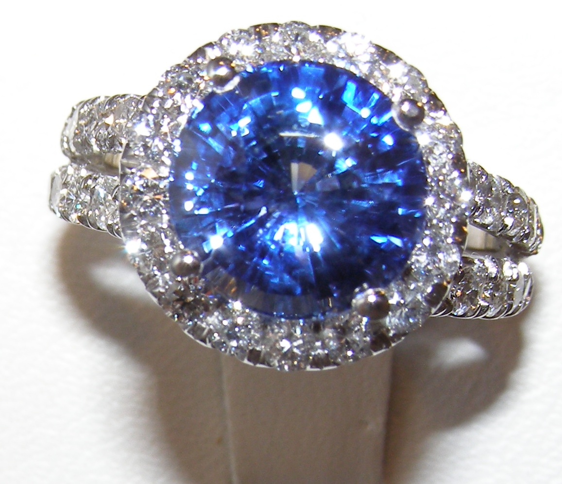 GIA Certified TOP Ceylon Blue Sapphire Diamond Ring 14KWG 6.96 ctw