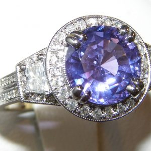 GIA Certified Purple/Blue Sapphire Diamond Ring 18KWG 3.93 ctw