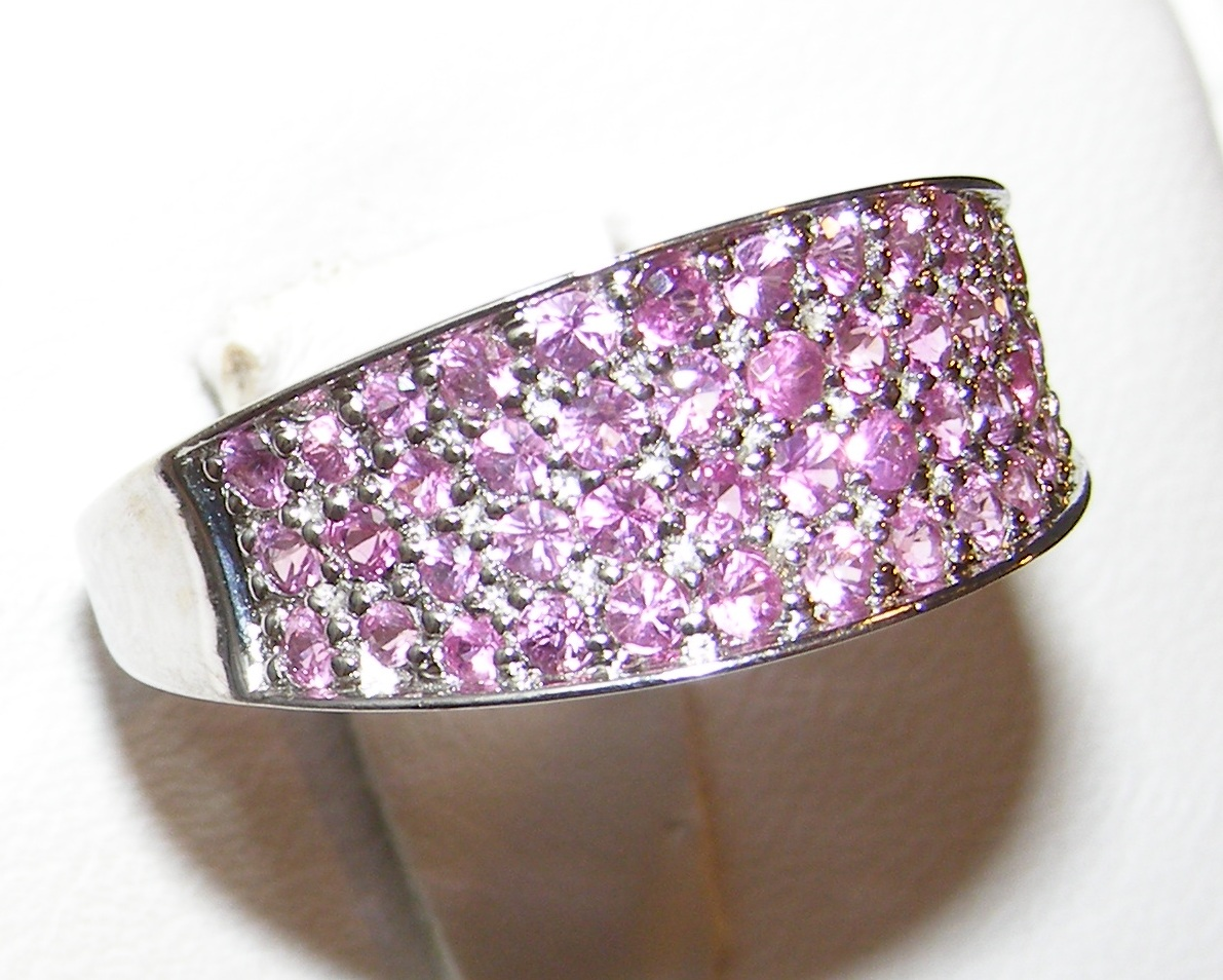 Pave Ceylon Pink Sapphire Band 14KWG 0.75 ctw
