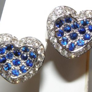 Pave Bright Blue Sapphire Diamond Earrings 18KWG 2.02 ctw