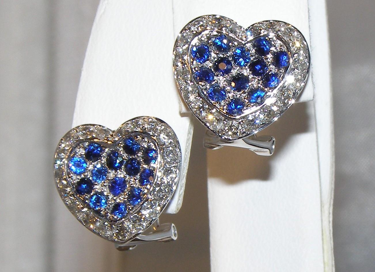 Pave Bright Blue Sapphire Diamond Earrings 18kwg 2 02 Ctw