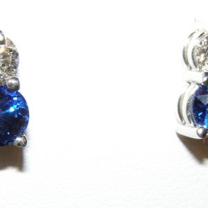 Superior Quality Ceylon Sapphire Diamond Studs 18KWG 2.22 ctw