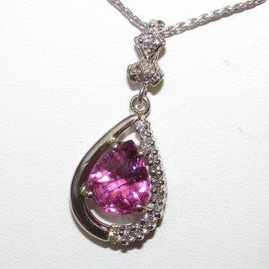 Exquisite AAA+ Rhodolite Diamond Pendant 14KWG 5.13 ctw
