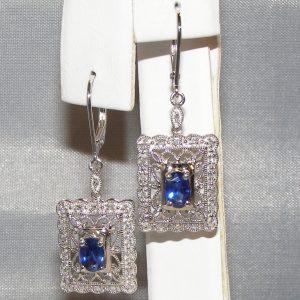 Art Deco Ceylon Sapphire Diamond Dangles 14KWG 1.42 ctw
