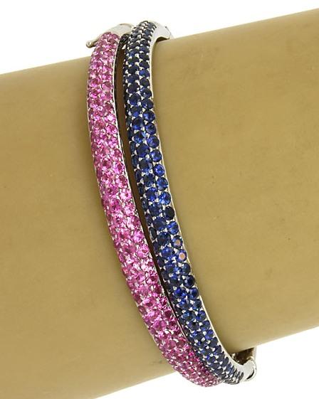 Ceylon Cornflower Blue Sapphire Pave Bangle Bracelet 18KWG 7.00 ctw