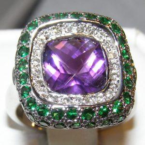Designer Amethyst, Tsavorite & Diamond Ring 18KWG 5.18 ctw