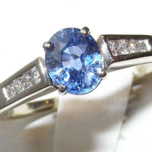 Traditional Style Blue Sapphire Diamond Ring 14KWG 1.70 ctw