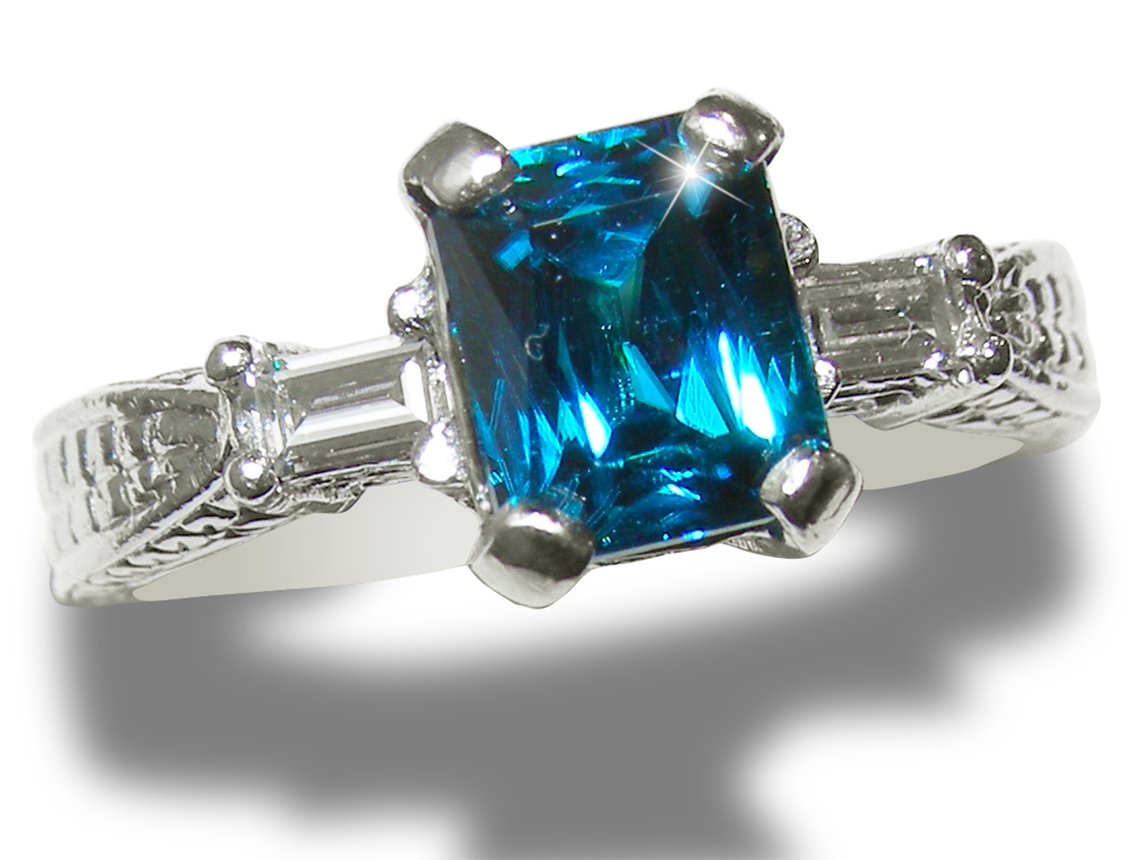 Deep Blue Fancy Radiant Cut Blue Zircon Platinum Diamond Ring 2.47 ctw