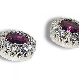 Pink Magenta Sapphire Diamond Platinum Studs 2.40 ctw