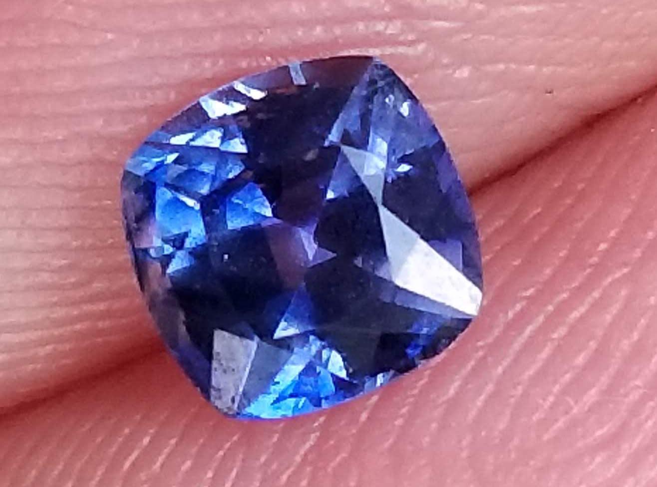 Ceylon Blue Cushion Cut Sapphire -0.77 Cts - 5x5x3.7mm