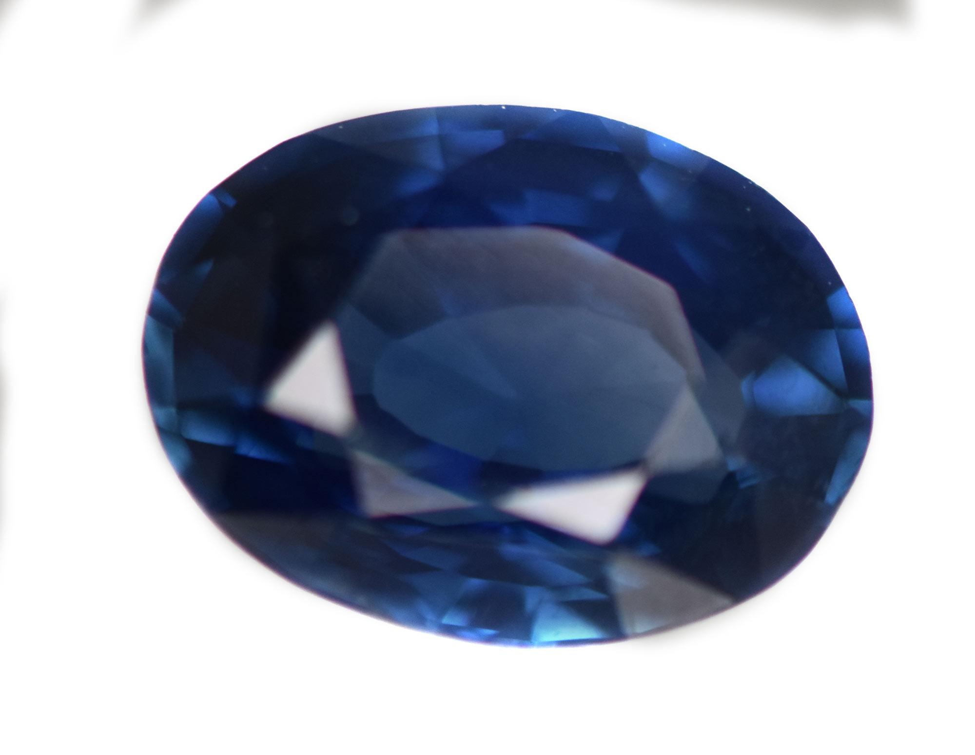 GGTL Certified Blue Oval Cut Sapphire 2.06 cts 8.6x6.3x4.4mm