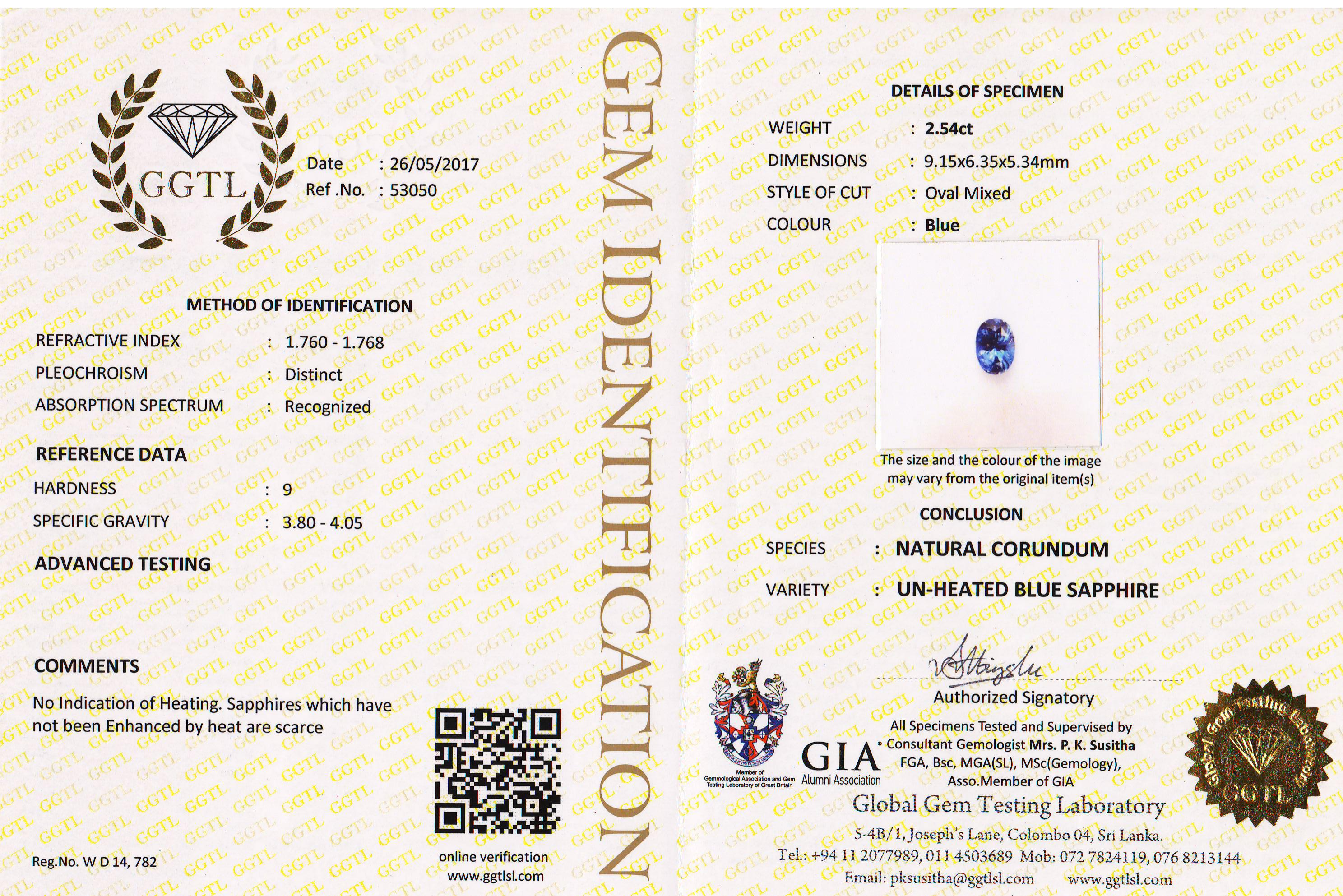 CGL Certified Unheated Blue Oval Ceylon Sapphire 2.54 carats 9.1x6.3x5.3mm