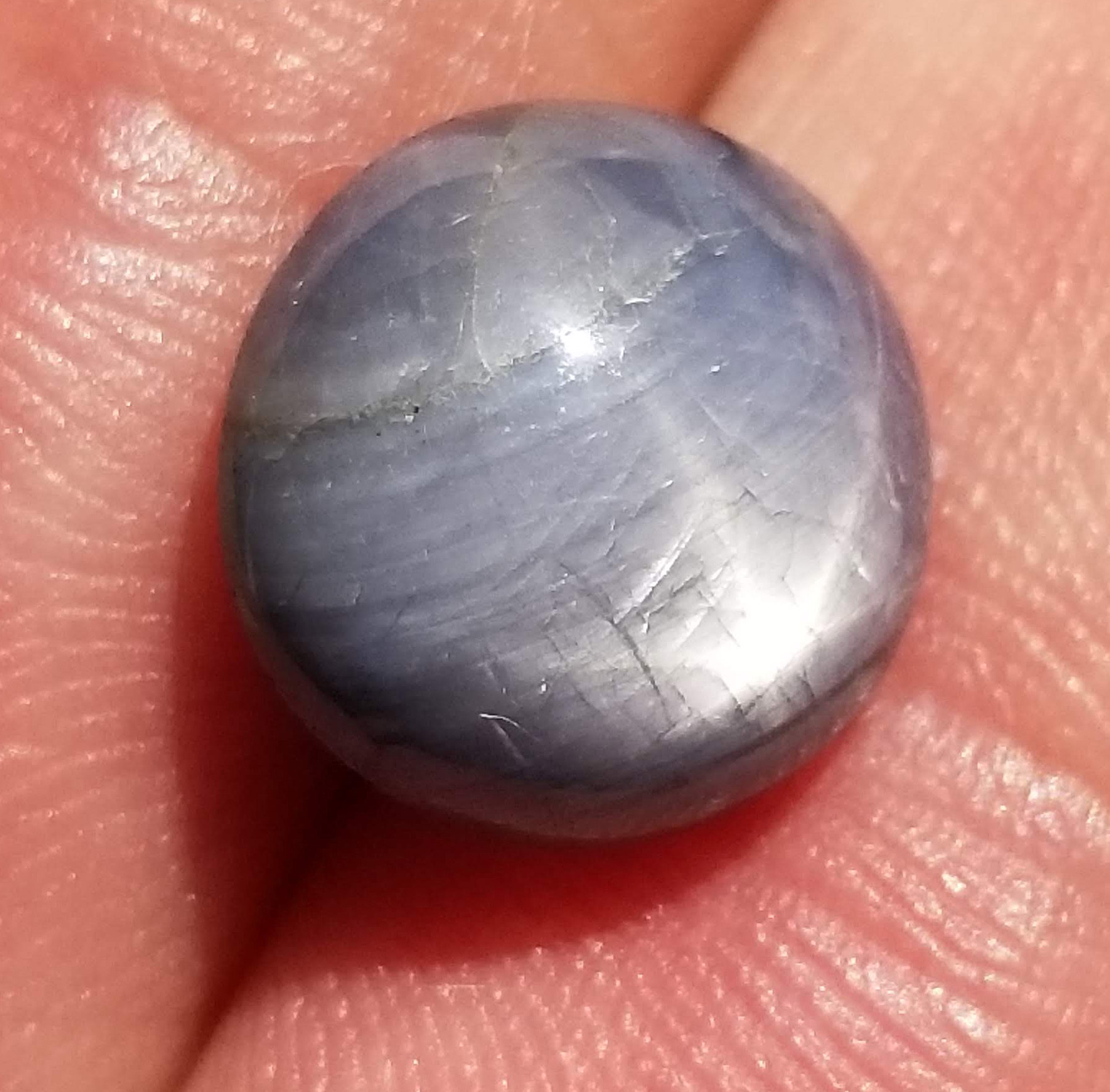AIGS Certified Gray Blue Star Sapphire 9.21 Carats 11.7x11.34x6.34mm