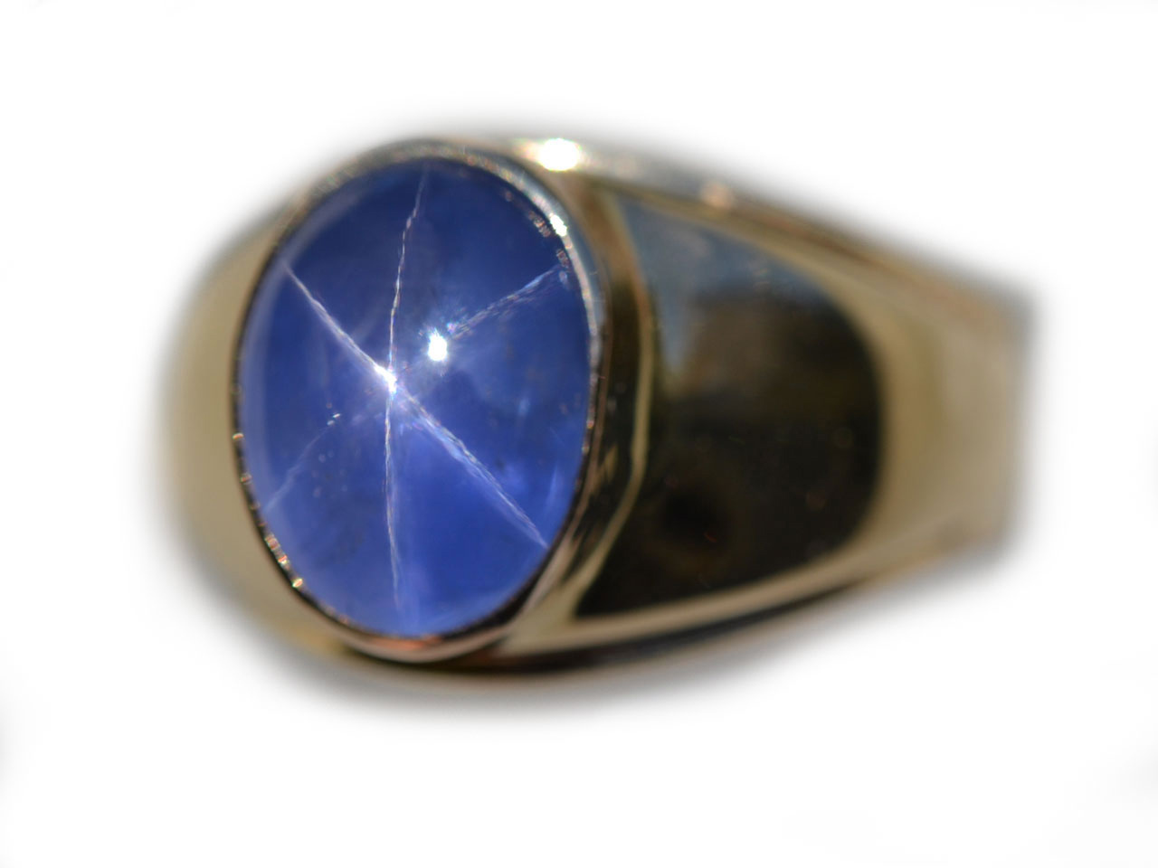 AGL Certified Untreated Mens Blue Star Sapphire Ring 9.3 cts in 14K Yellow Gold