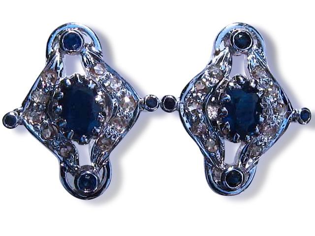 Silver Sapphire Cufflink Pair and Shirt Stud Set
