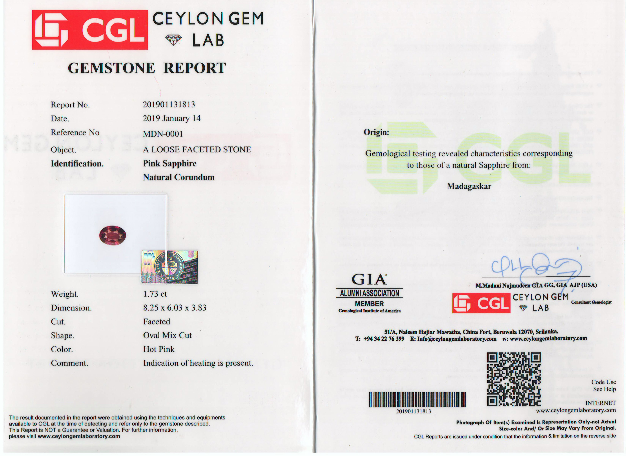 CGL Certified Pink Oval Sapphire 1.73 Carats 8.25x6.03x3.83mm