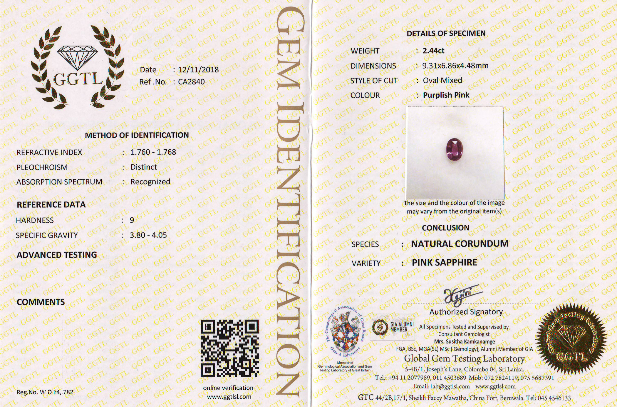 GGTL Certified Unheated Pink Oval Sri Lanka Sapphire 2.44 Carats
