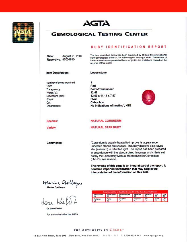 AIG & AGTA Certified Untreated Burma Ruby Star - 12.48 cts 12.69x11.10 x7.98mm