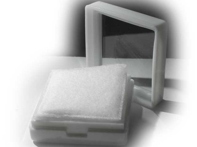 "White Glass Topped Gem Box  - 1.0"" inch square"