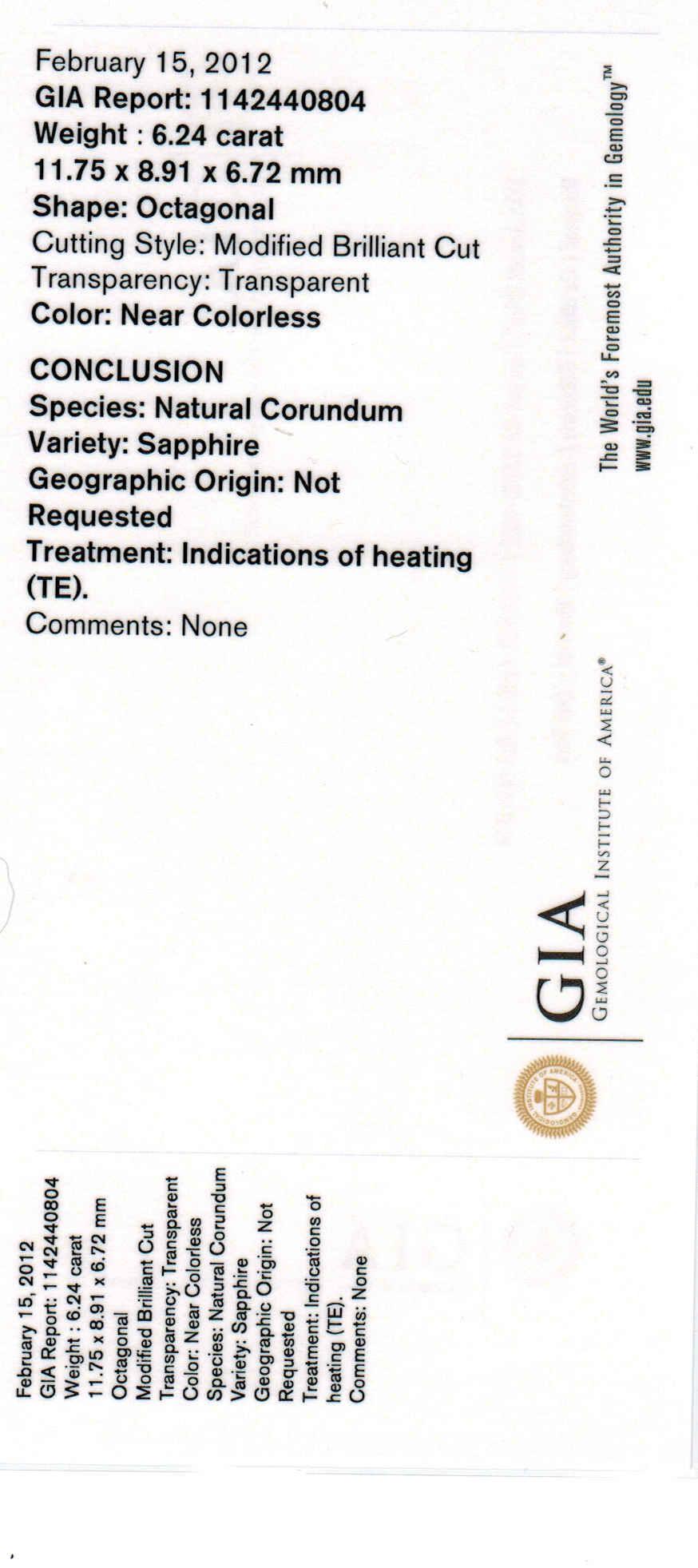 GIA Certified  Ceylon Emerald Cut White Sapphire - 6.24 Cts - 12x9mm  11.75x8.91x6.72mm
