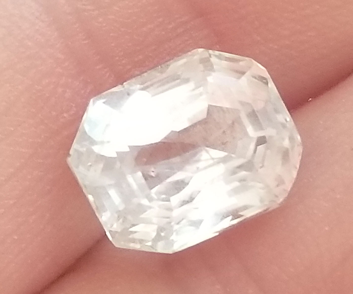 AGTA Certified Unheated White Emerald Cut Sapphire - 7.47 cts