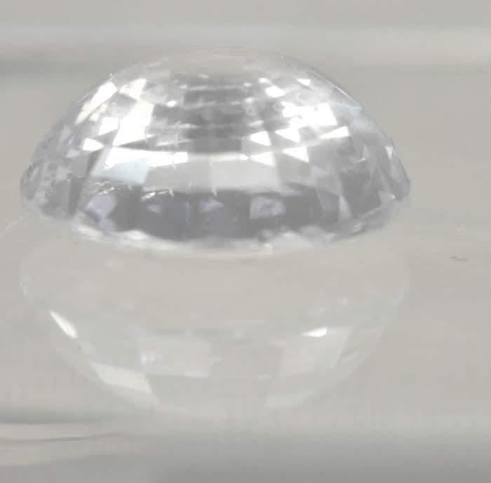 GIA Certified Ceylon White Round Brilliant Sapphire  9.1x9.0x4.2mmmm  3.43 carats