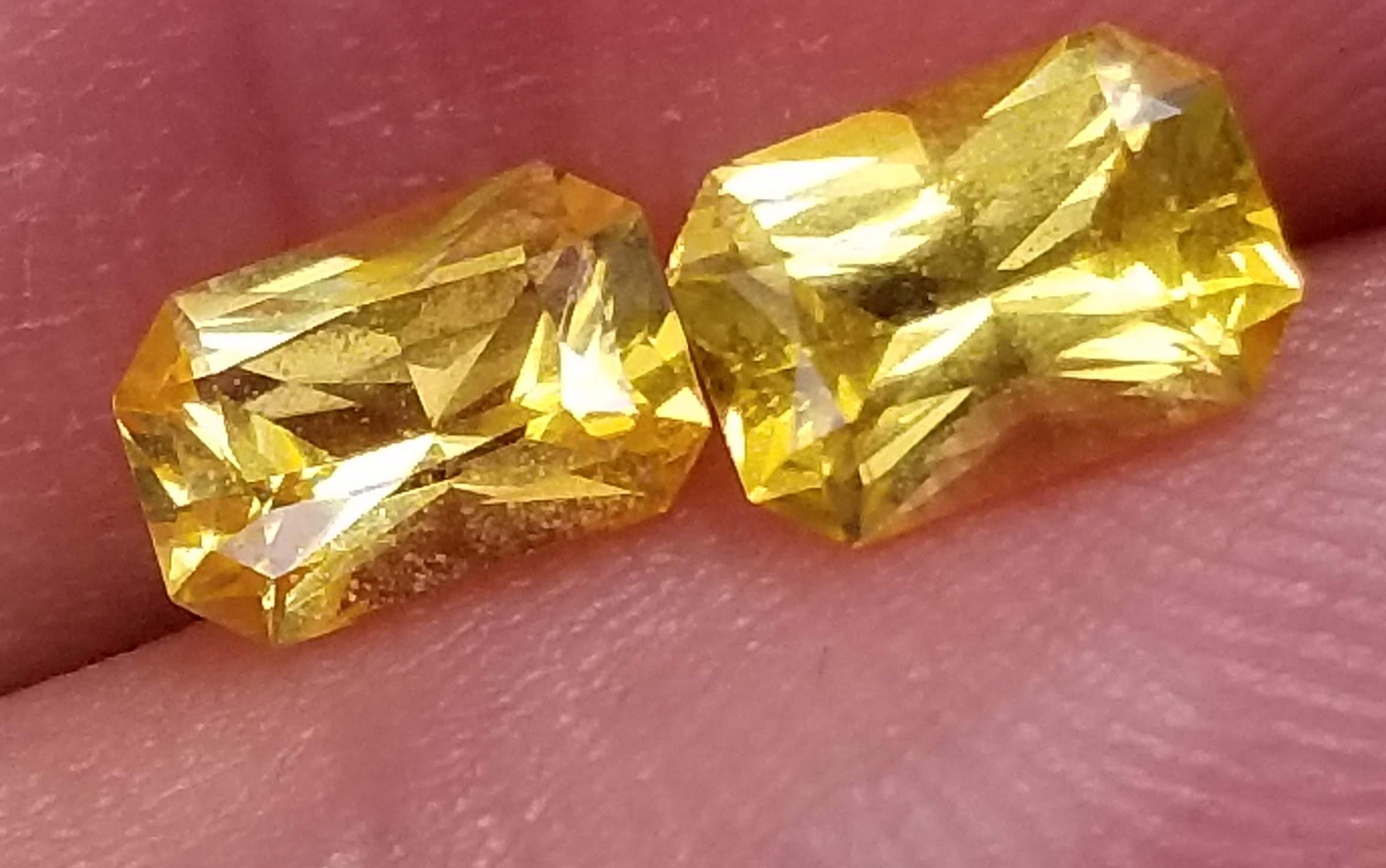 Ceylon Sapphire Yellow Emerald Cut Pair 6.5x4.5mm  1.77 cts