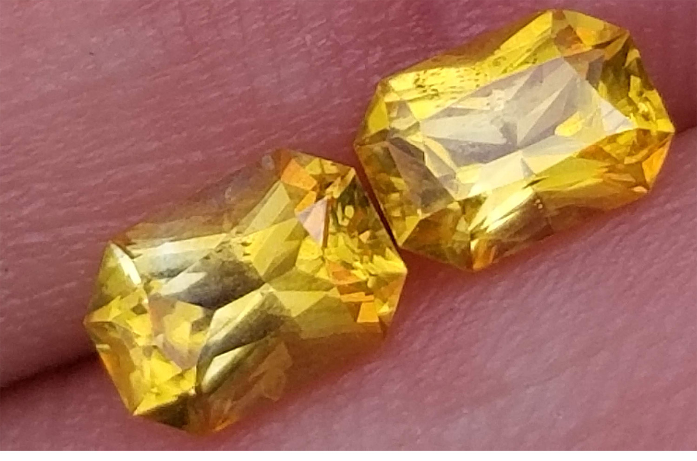 Ceylon Yellow Emerald Radiant Cut Sapphire Pair 7x5mm 2.34 ctw 2nd Day Shipping