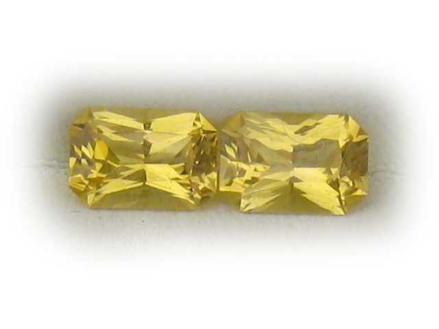 Matched Pair Yellow Radiant Cut Sapphires 1.66 carats 6.5x4.5mm