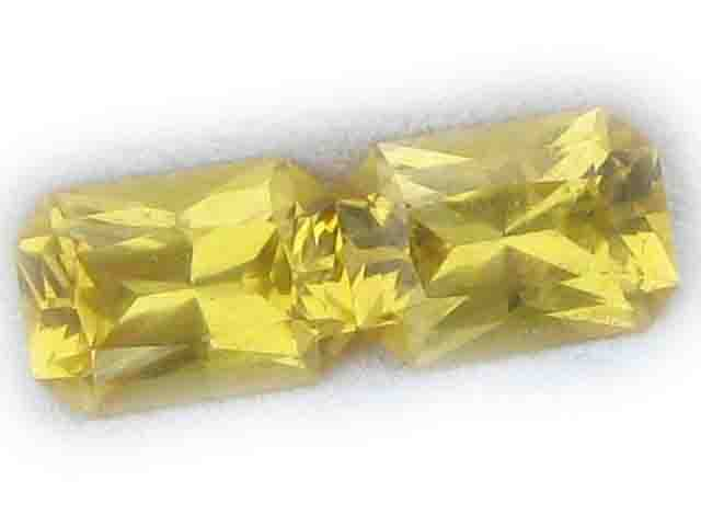Ceylon Sapphire Yellow Emerald Cut Pair 6.5x4.5mm  1.79 cts