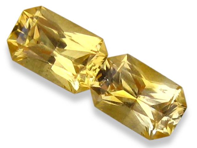 Ceylon Yellow Emerald Cut Sapphire Pair 6x4mm  1.30 cts special