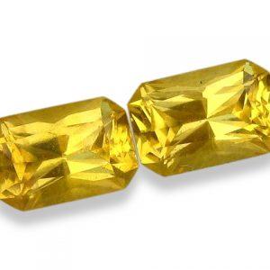 Ceylon Sapphire Yellow Emerald Cut Pair 6x4mm  ~1.37 cts