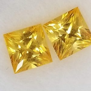 Sri Lanka Yellow Princess Cut Sapphire Pair 4mm 0.94cts